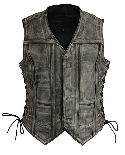 (M-BOSS APPAREL-Women Distressed 6 Pocket Vest w/Exterior Gun Pocket-DISTRESSED GRY-LG)