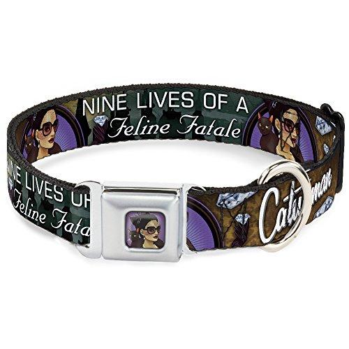 Dog Collar Seatbelt Buckle Catwoman Nine Lives of A Feline Fatale Bombshell Pose Diamond 15 to 26 Inches 1.0 Inch Wide (Catwoman Nine Lives Of A Feline Fatale)