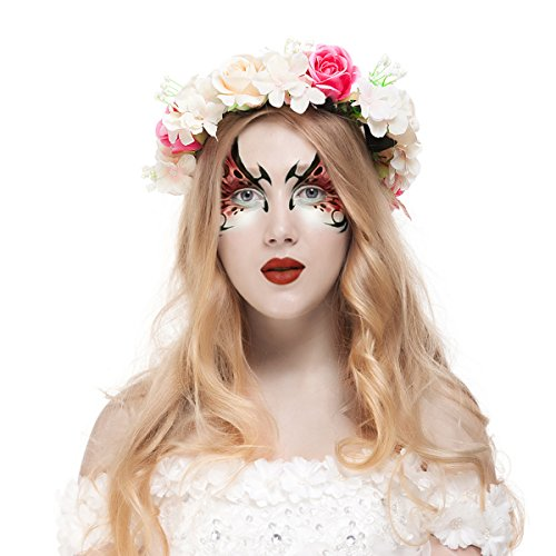 Toddlers And Tiaras Costume Makeup (Valdler Halloween Party Decor Costum Champagne Rose Flower Crown (1 pcs))
