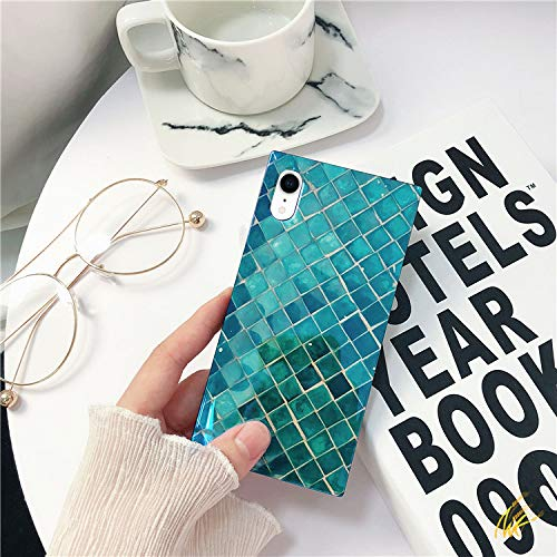 Square Mermaid Little - Mermaid Scale iPhone Xr Case, Square Shining Soft Emerald Mermaid Case for iPhone Xr Case Sea Blue ray Holographic Glossy Rectangle Full Protection Glitter TPU Back Cover