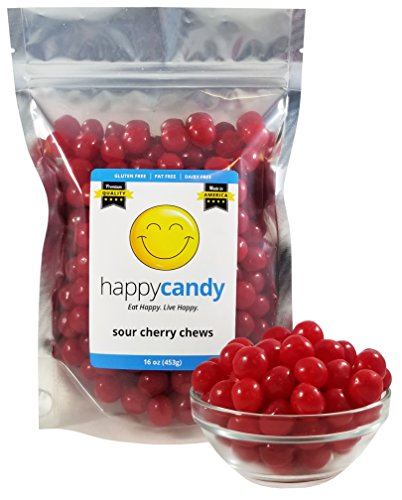 Happy Candy Chewy Sour Cherry Balls - Gluten Free, Fat Free, Dairy Free - Resealable Pouch (1 Pound)
