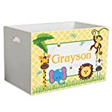Personalized Jungle Babies Childrens Nursery White Open Toy Box