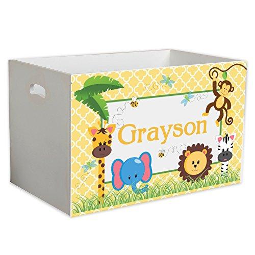 Personalized Jungle Babies Childrens Nursery White Open Toy Box by MyBambino