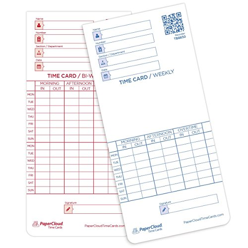 "PaperCloud Time Cards, Weekly, Bi-Weekly, Double Sided, compares with ATR121, 3.375 x 7.25"", 250 Count. Includes Free Software"