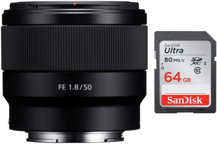 Sony FE 50mm F1.8 Lens & 64GB UHS-I SD Card