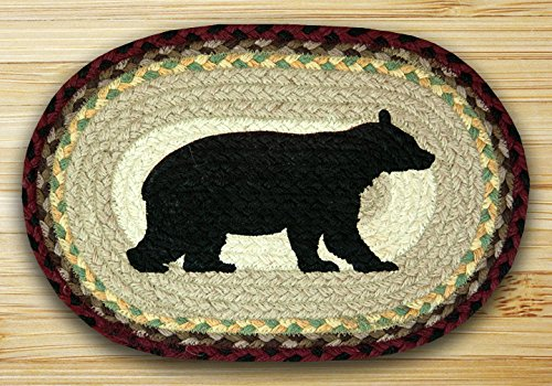 Earth Rugs 81-395CB Cabin Bear Oval Printed Swatch Placemat,