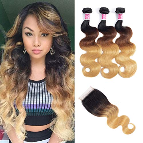 - Ombre Brazilian Hair Bundles With Closure Body Wave 8A Grade Human Virgin Hair 3 Bundles With 4×4 Lace Closure Free Part 1b/4/27 3 Tone Blonde Color Hair Extensions Fabc Hair(20 22 24+18 Free Part)