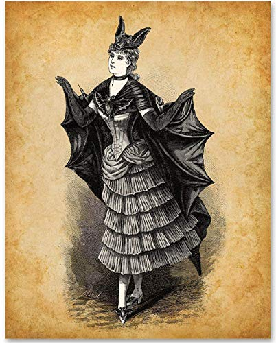 Victorian Bat Costume - 11x14 Unframed Bizarre Goth Art Print - Makes a Great Gift Under $15 for Goth - Halloween Print Decorations