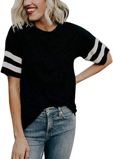 Qingsiy Camisas para Mujer con Cuello En O, Elegante Camiseta Mujer Blusas Off Hombro Manga Corta Pullover Mujer Moda Color Sólido Tops Fiesta Blusa (Negro, XL): Amazon.es: Ropa y accesorios