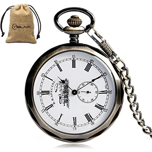Face Pocket Watch Chain (Vintage Open Face Train Roman Numberal Skeleton Mechanical Pocket Watch Pendant Chain Men Creative Gifts)