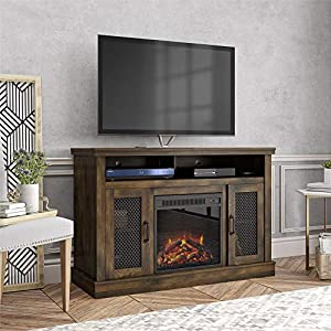 """Ameriwood Home Cresthaven Fireplace 54"""", Rustic TV Stand,"""