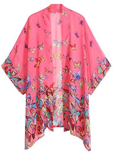 WEIYAN Women's Summer Tops Loose Chiffon Kimono Cardigan Beach Swim Cover up Blouse (PButterfly, XL)