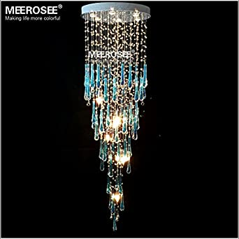 Meerosee luxurious royal blue crystal chandelier light fixture long meerosee luxurious royal blue crystal chandelier light fixture long large crystal lamp for staircase lamp crystal aloadofball Image collections