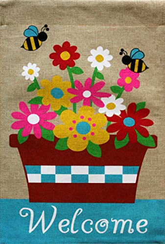 Briarwood Lane Springtime Floral Burlap House Flag Welcome Flower Pot 28