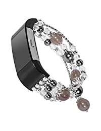 for Fitbit Charge 2 Band,Fashion Pearl Natural Stone Elastic Stretch Bead Bracelet Bands Replacement Women Girls Dressy Wristbands Accessories for Fitbit Charge 2