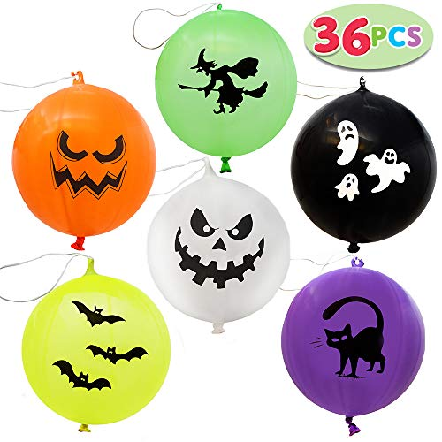 Halloween Punch Ball Balloons (JOYIN 36 Pieces Halloween Mega Punch Balloons for Halloween Punching Balloon Party Favor Supplies Decorations, Prize Punch Game Rewards, Trick or Treat Toys, School Classroom Game, Kids)