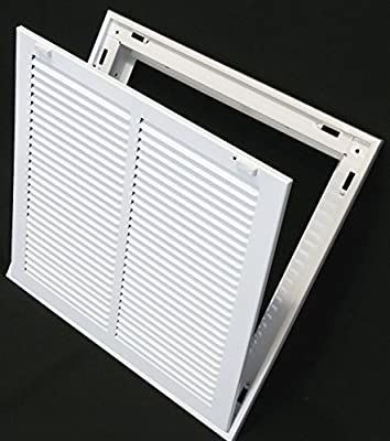 """14"""" X 14 Steel Return Air Filter Grille for 1"""" Filter - Removable Face/Door - HVAC DUCT COVER - Flat Stamped Face - White [Outer Dimensions: 16.5""""w X 16.5""""h]"""