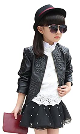 0e11de9b009f Amazon.com  Baby Girls Jacket Coat Fashion Motorcycle PU Leather ...