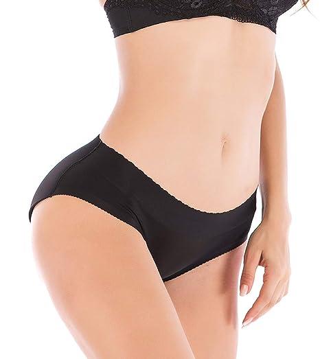 c132604171a DODOING Ladies Seamless Panty Push up Buttock Hip Pads Panties Underwear  Black