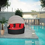 Siesta Canopy Outdoor Patio Daybed, Espresso Red