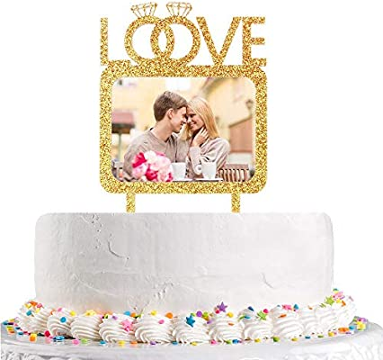 Love Double Diamond Rings Cake Topper With Photo Frame Wedding