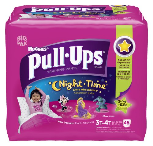 Huggies Pull-Ups Night-time Training Pants, Size 3T - 4T, Girl, 46 Count (Pack of 2) by Pull-Ups