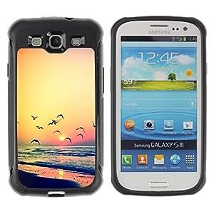 LASTONE PHONE CASE / Suave Silicona Caso Carcasa de Caucho Funda para Samsung Galaxy S3 I9300 / sunset seagull ocean summer orange