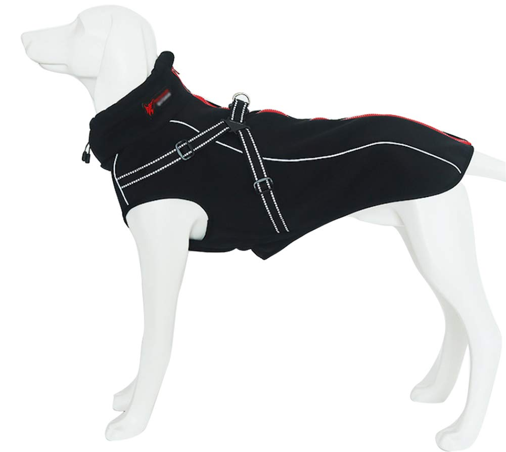 Black Small(Back Length  45.7CM 18\ Black Small(Back Length  45.7CM 18\ Dog Jacket with Harness, Windproof Dog Vest with Reflective Strips for Medium Large Dogs, Warm and Cozy Dog Sport Vest, Dog Winter Coat, Warm Dog Apparel with High Neckline Collar Bla