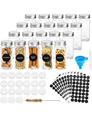 Hatoku 20 Pcs Glass Spice Jars with 400 Spice Labels, 4oz Square Spice Bottles with Shaker Lids and Airtight Metal Caps, Chalk Marker and Funnel Included