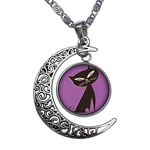 Halloween black cat clipart Crescent Moon Galactic Universe Glass Cabochon Pendant Necklace -