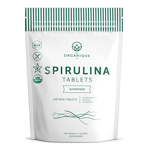 Spirulina Tablets 120ct 500mg - Boosts Energy, Supports Immunity - Certified Organic Superfood, Non-Irradiated, Raw, Non-GMO, Vegan, Gluten Free - Nutrient Density Bioavailability - by Organique