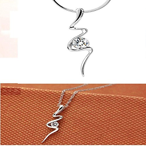 - Crystal Women Fashion Clear Necklace Gifts Latest Shape Pendant Ladys Snake