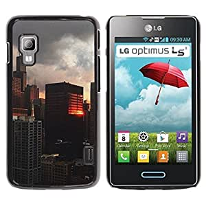 Paccase / SLIM PC / Aliminium Casa Carcasa Funda Case Cover - Building Reflection City View - LG Optimus L5 II Dual E455 E460