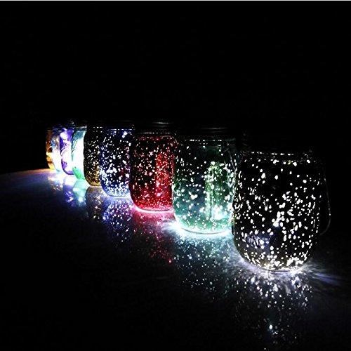 Mason Jar Light Lids, 4 Pack Solar Charged LED Multi-Color Jar Fairy Hanging Light Garden Lanterns, Outdoor Solar Mason Lamp Patio Path for Wedding Party Lighting
