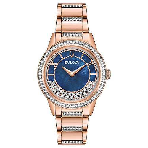 Ladies' Bulova Crystal Rose Gold-Toned Turnstyle Watch 98L247