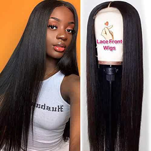 Hermosa 9A Lace Front Human Hair Wigs for Women 13x4 150% Density Straight Lace Front Wigs Human Hair with Baby Hair Pre Plucked Black Color 18 inch
