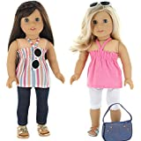 7 Pc. Casual Everyday Outfit Set Fits 18 Inch Doll Clothes Includes- X2 Pants, X2 Tops, Headband, Sun Glasses...