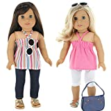 Image of 7 Pc. Casual Everyday Outfit Set Fits 18 Inch Doll Clothes Includes- X2 Pants, X2 Tops, Headband, Sun Glasses and Pocketbook