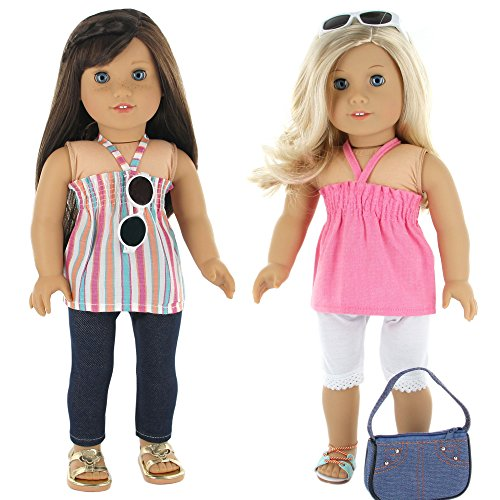 7-pc-casual-everyday-outfit-set-fits-18-inch-doll-clothes-includes-x2-pants-x2-tops-headband-sun-gla