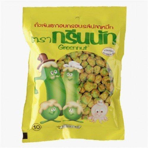 Greennut Cuttlefish Flavoured Crispy Green Peas 40 G Thailand Product by Green Nut