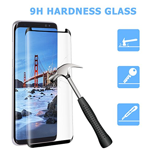 Atill Samsung S8 Plus Tempered Glass Screen Protector, Full Coverage Case Friendly Film with Little Curved for Samsung Galaxy S8 Plus, Black
