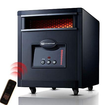 Lxn Estufa eléctrica con Control Remoto - Chimenea eléctrica con Calentador portátil (Negro)