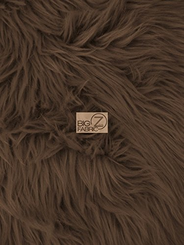 Costume Fur Fake Coat (SOLID GRIZZLY SHAGGY FAKE FUR FABRIC SOLD BY THE YARD LONG PILE COSTUME COATS SCARFS (Dark)