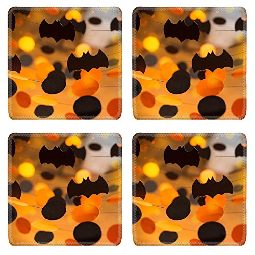 Luxlady Square Coasters Non-Slip Natural Rubber Desk Coasters IMAGE ID: 22494437 Halloween paper garlands
