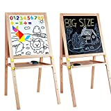 Kids Standing Art Easel Wooden Double Sided Adjustable Height Magnetic Drawing Board with Tray and Accessories