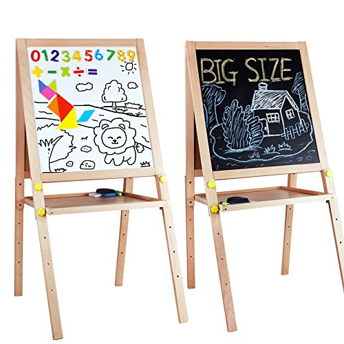 Kids Standing Art Easel Wooden Double Sided Adjustable Height Magnetic Drawing Board with Tray and Accessories by YIRAN