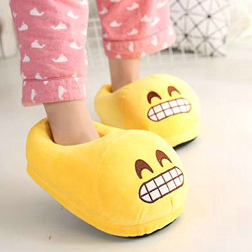 Zapatillas de Cute Emoji Unisex Caliente suave suave Zapatos Calzado Slip(35-41 código) Diente