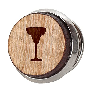 Margarita Stylish Cherry Wood Tie Tack- 12Mm Simple Tie Clip With Laser Engraved Design - Engraved Tie Tack Gift