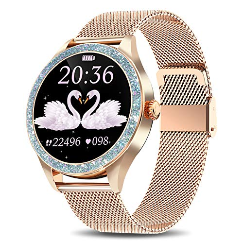 "Yocuby Smart Watch for Women, 1.1"" Touch Screen Fitness Watch for iPhone Android Phones, IP68 Waterproof Sport Activity Tracker, SMS Alert, Heart Rate/Sleep Monitor"