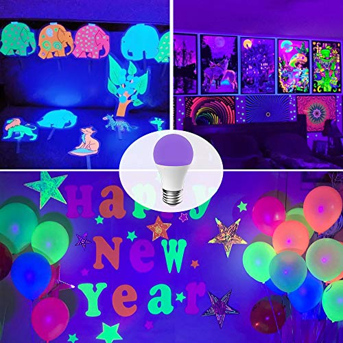 Onforu UV LED Black Lights Bulb, 7W A19 E26 Bulb, UVA Level 385-400nm, Glow in The Dark for Blacklight Party, Body Paint, Fluorescent Poster, Neon Glow (2 Pack) by Onforu (Image #5)